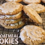 Crispy edges, soft, chewy inside! Old Fashioned Iced Oatmeal Cookies bring back memories of your childhood with iced oatmeal cookies. #oatmealcookies #recipe