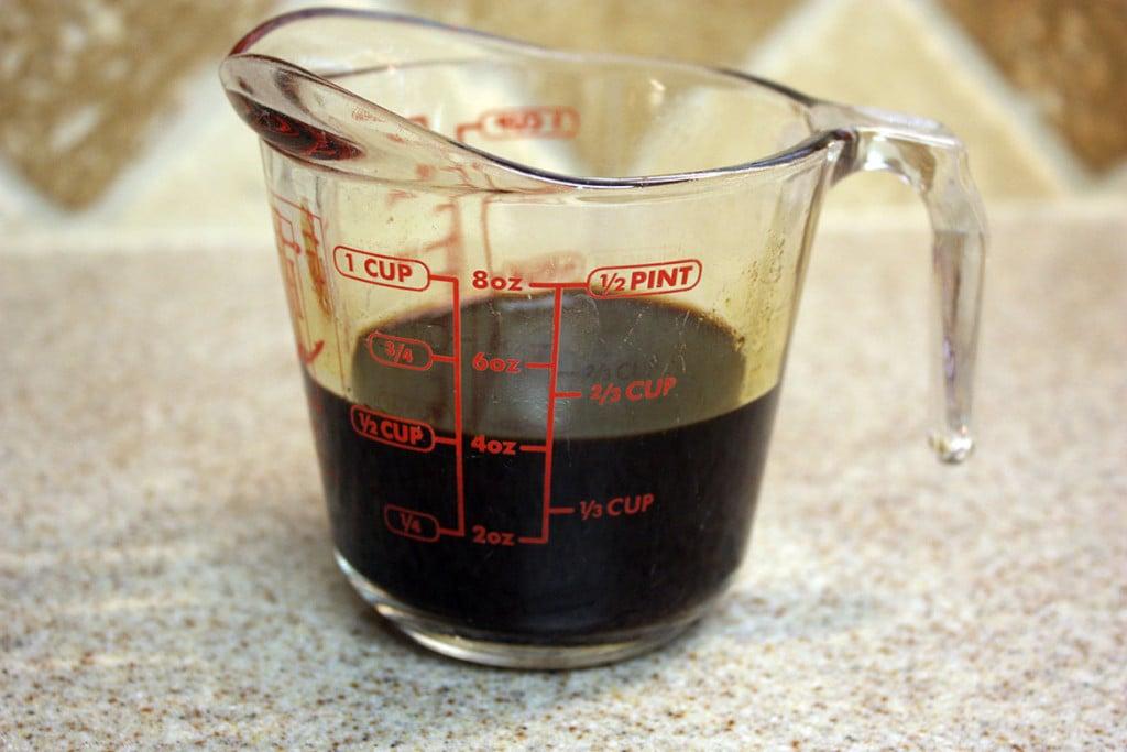 espresso in a glass measuring cup