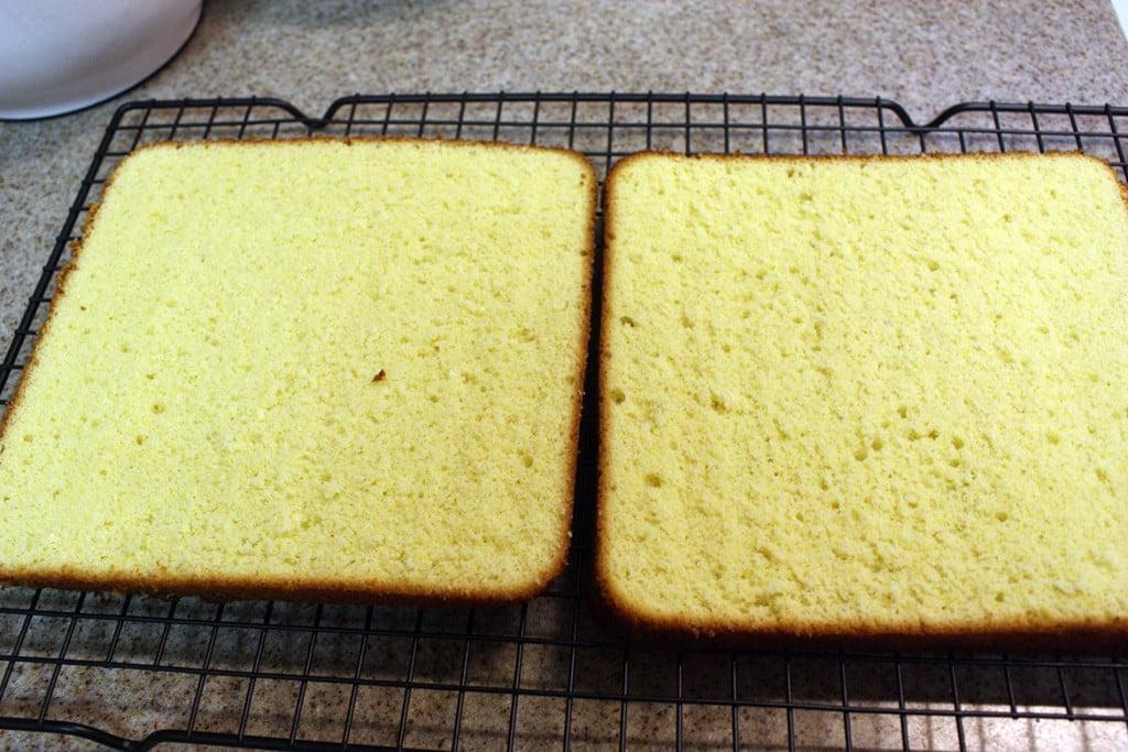 genoise cake cut in half
