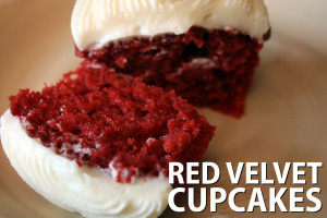 Red Velvet Cupcakes - Deep red color, moist, soft fluffy crumb and slathered with a sinful cream cheese frosting.