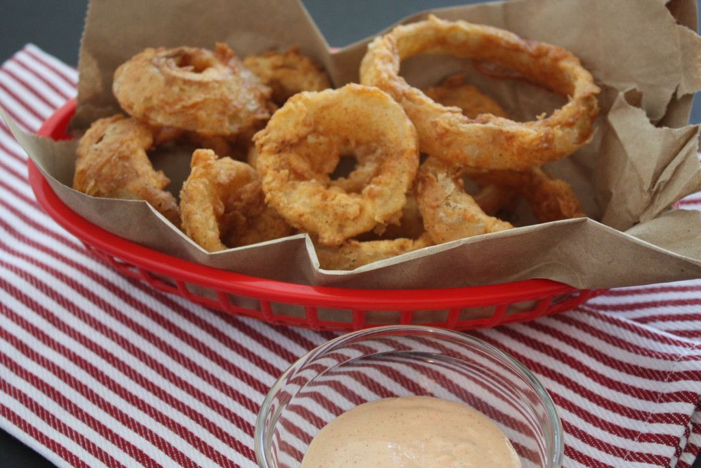 Onion rings in a red basket