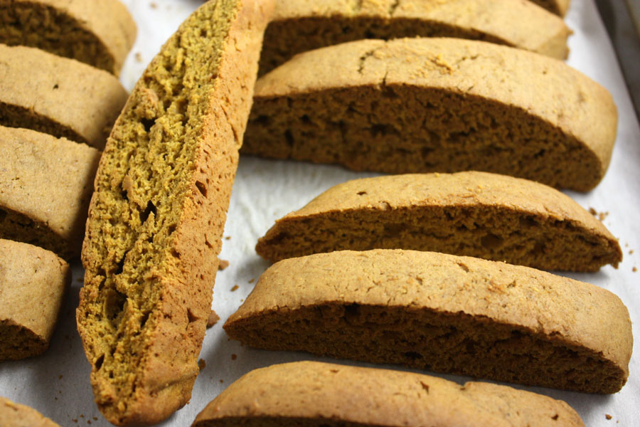 baked pumpkin spice biscotti on a baking sheet