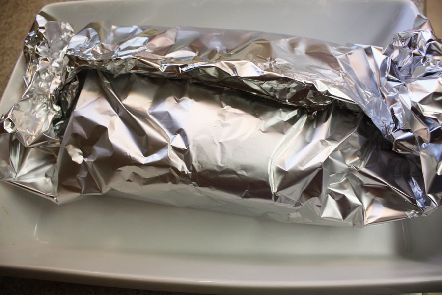 Corned Beef with Mustard Sauce - corned beef wrapped in aluminum foil