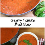 An easy healthy creamy, hearty, flavorful tomato basil soup! This is a must-have cold-weather recipe. #soup #tomato