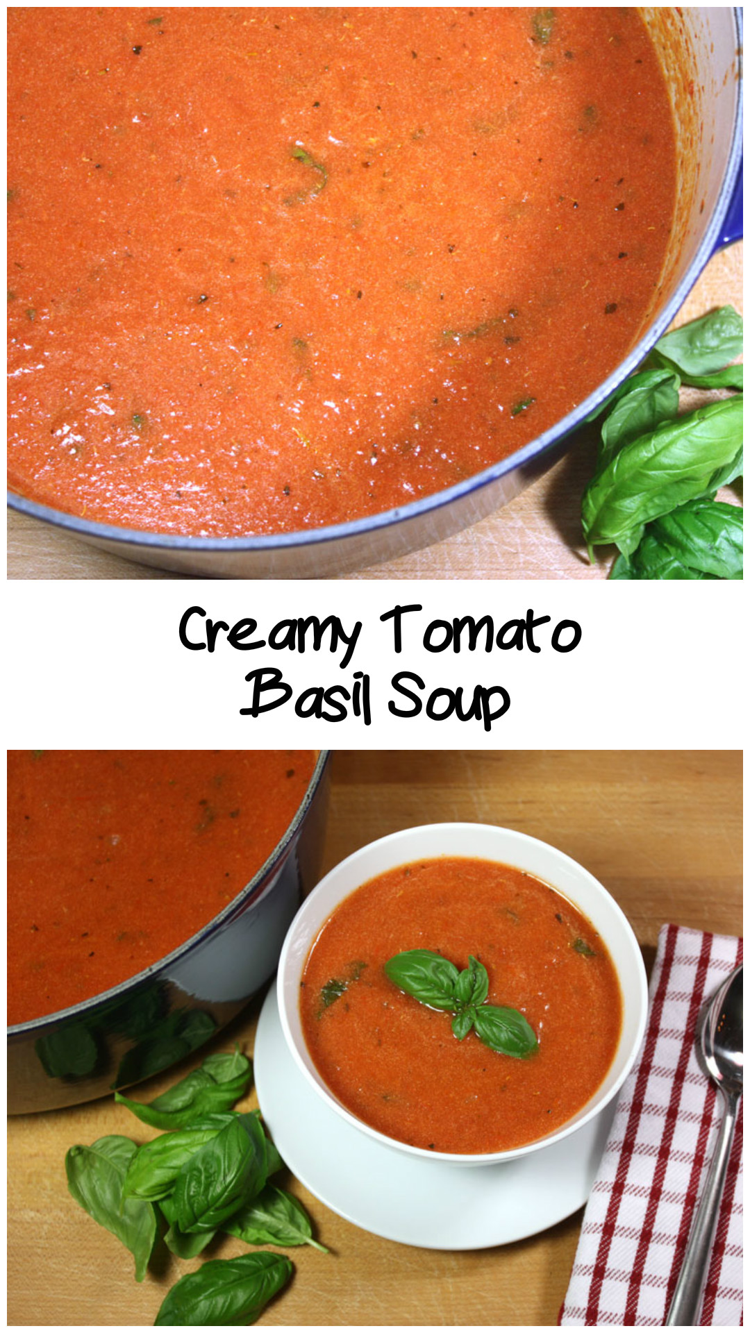 Creamy Tomato Basil Soup - Creamy, hearty, flavorful tomato soup! This is a must-have cold weather recipe.