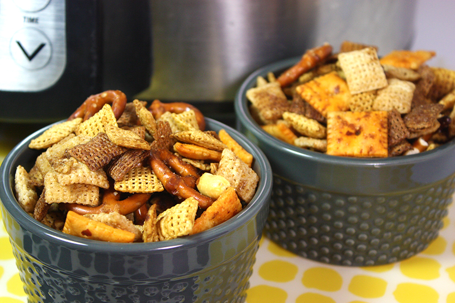 Slow Cooker Chex Mix in two gray ramekins