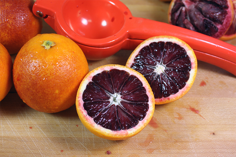 Blood Orange Granita - blood orange cut in half