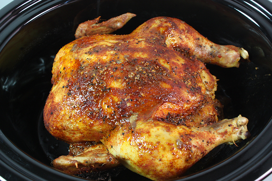 Slow Cooker Rotisserie Chicken - This chicken is super moist, tender ...