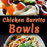 Ah-Mazing! Mexican rice, spicy chicken and loads of healthy fresh toppings make this slow cooker Chicken Burrito Bowl divine! #healthy #easy