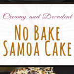 No Bake Samoa Cake - Two decadent layers of absolute dessert heaven! You must try this super easy Samoa cake recipe. #summer #recipe #dessert #samao #cake #nobake