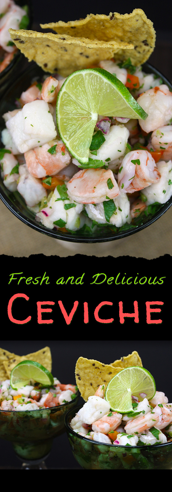 Quick and Fresh Ceviche - Easy, fresh, tangy and light shrimp and cod ceviche. Perfect for summer!  #summer #recipes #shrimp