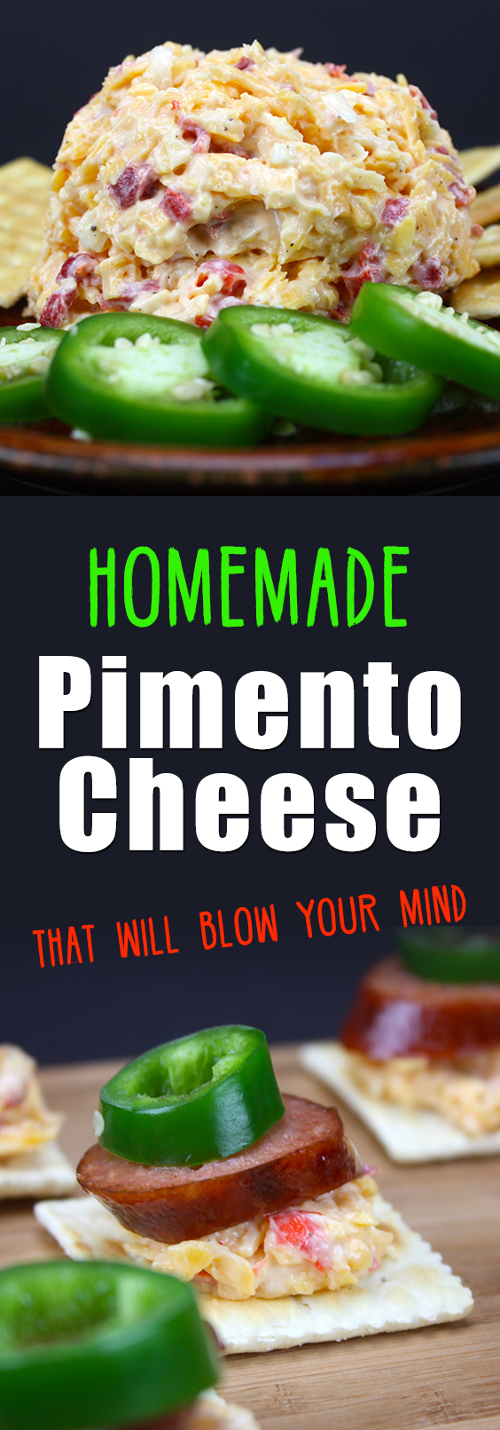 Our favorite way to enjoy this easy homemade pimento cheese is with grilled smoked sausage and a jalapeno on a saltine. Our favorite way to enjoy this easy homemade pimento cheese is with grilled smoked sausage and a jalapeno on a saltine. #recipes #appetizers #cheese