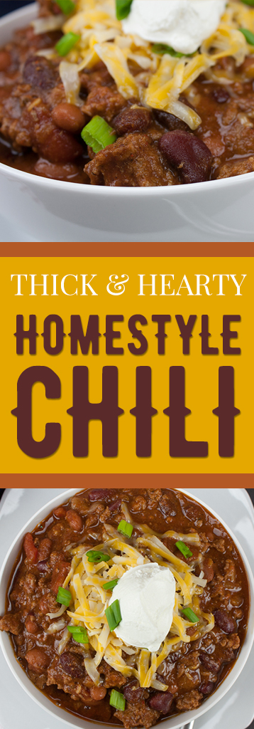 Thick & Hearty Homestyle Chili - Warm up this winter with a big bowl of the BEST thick, rich and hearty chili! You want good chili, this is it! #chili #recipes #thickchili #fall #winter #onepotmeal