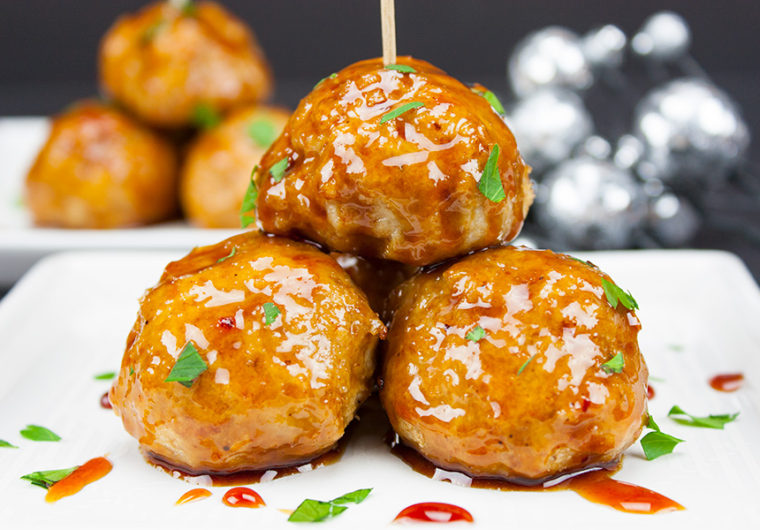 Firecracker Chicken Meatballs - These pack loads of spicy, sticky, slightly sweet flavor in one little morsel!