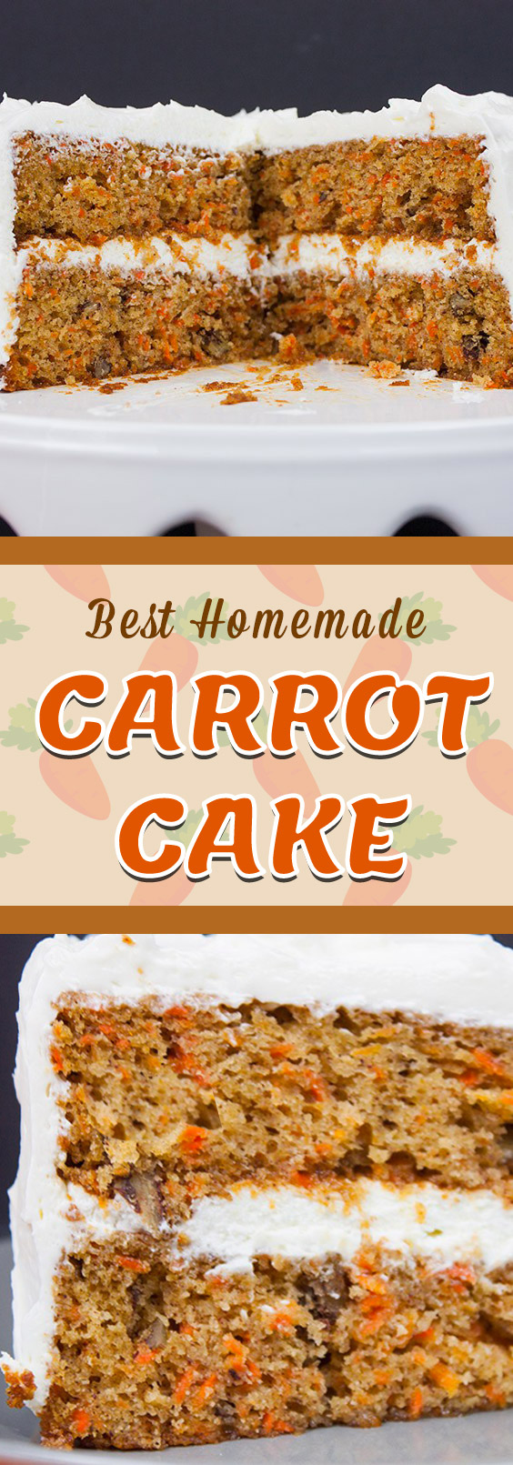 Best Homemade Carrot Cake - Look no further! Moist, tender, perfectly spiced topped with a whipped cream cheese frosting. #dessert #recipe #cake #carrot #easter #christmas