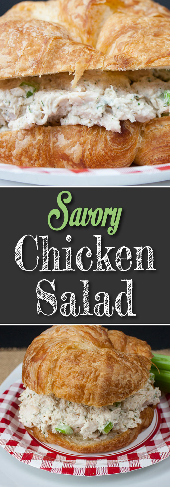 Savory Chicken Salad - Not your typical chicken salad recipe. No nuts, no fruit here! The best-tasting chicken salad! #chicken #salad #sandwiches #chickensalad
