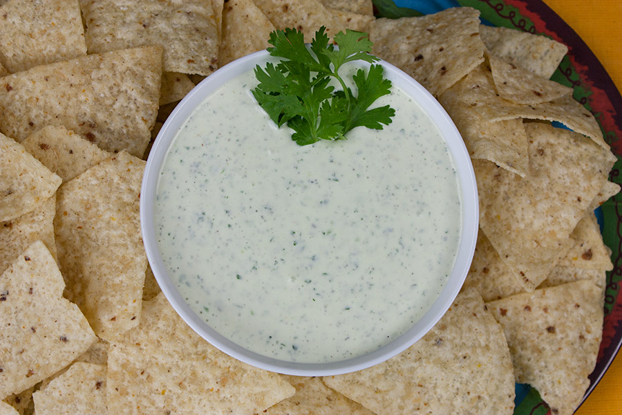 Creamy Jalapeno Cilantro Dip in a white bowl garnished with a sprig of cilantro and surrounded by tortilla chips