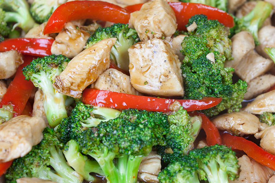 closeup of Easy Chicken and Broccoli Stir Fry