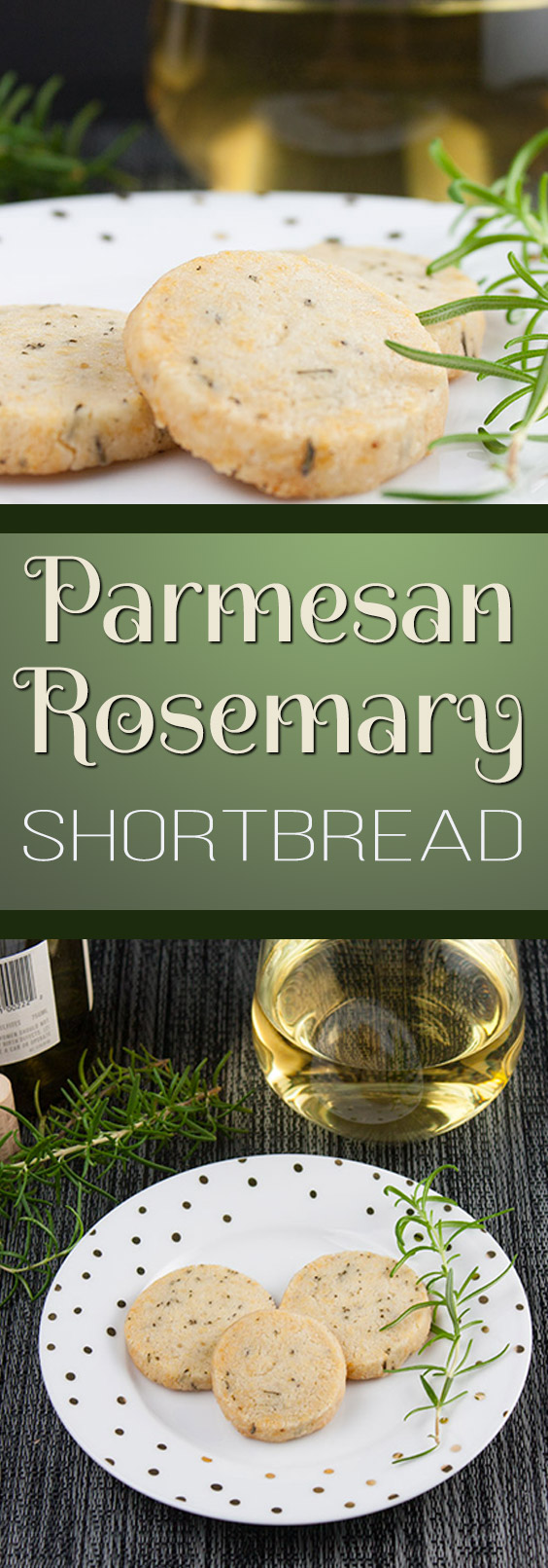 Savory Parmesan Rosemary Shortbread - Fresh rosemary, parmesan cheese and loads of fresh cracked black pepper make this the perfect cocktail appetizer or just a snack. #holidays #recipe #coctails #cookies