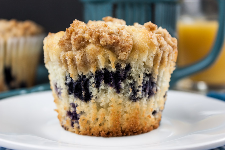 Lemon Streusel Blueberry Muffins - Muffin PERFECTION! A soft, velvety,moist muffin loaded with juicy fresh blueberries and topped with a lightlysweet crumb topping.