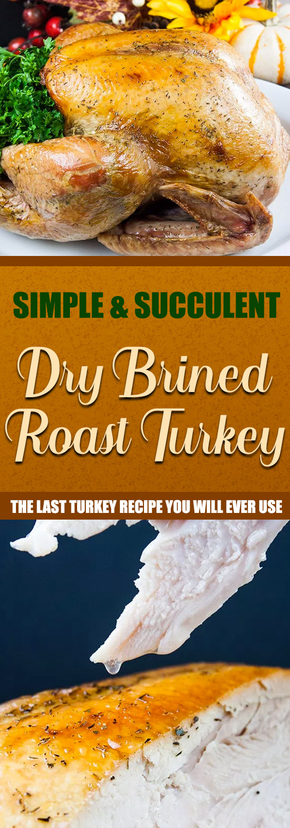 Simple Succulent Dry Brined Roast Turkey - You will never use another method again! Dry brining will give you a phenomenally moist, tender, deep flavor filled turkey. #thanksgiving #christmas #turkey #recipe #easy