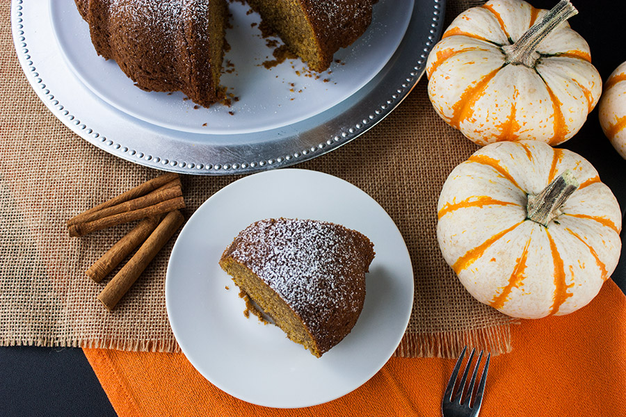 Pumpkin Spice Bundt Cake - overhead shot of the cake