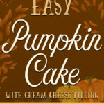 Easy Pumpkin Cake with Cream Cheese Filling - Simple to make using a spice cake mix with spiced cream cheese and whipped cream filling. A holiday show stopper! #pumpkin #dessert #fall #holiday