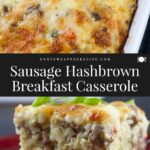 sausage breakfast casserole on red plate