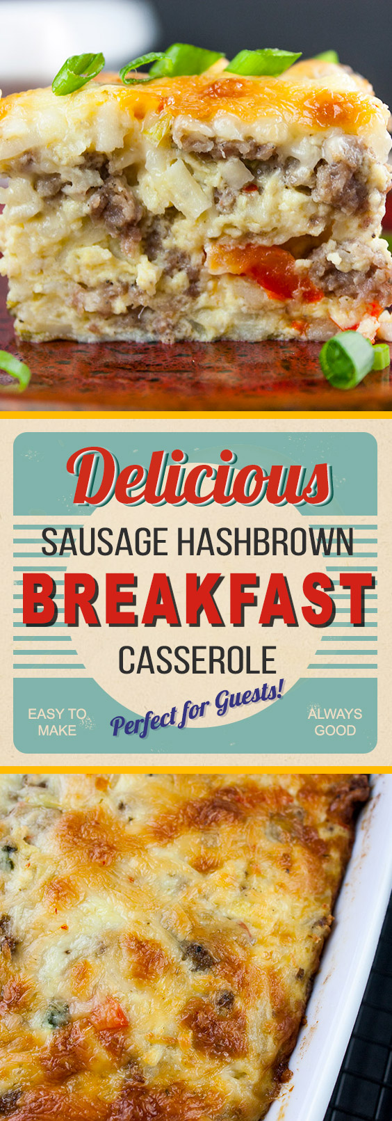 Sausage Hashbrown Breakfast Casserole Recipe - All your breakfast favorites baked in one pan! Can be made the night before and is perfect for a crowd.  #breakfast #casserole #sausage