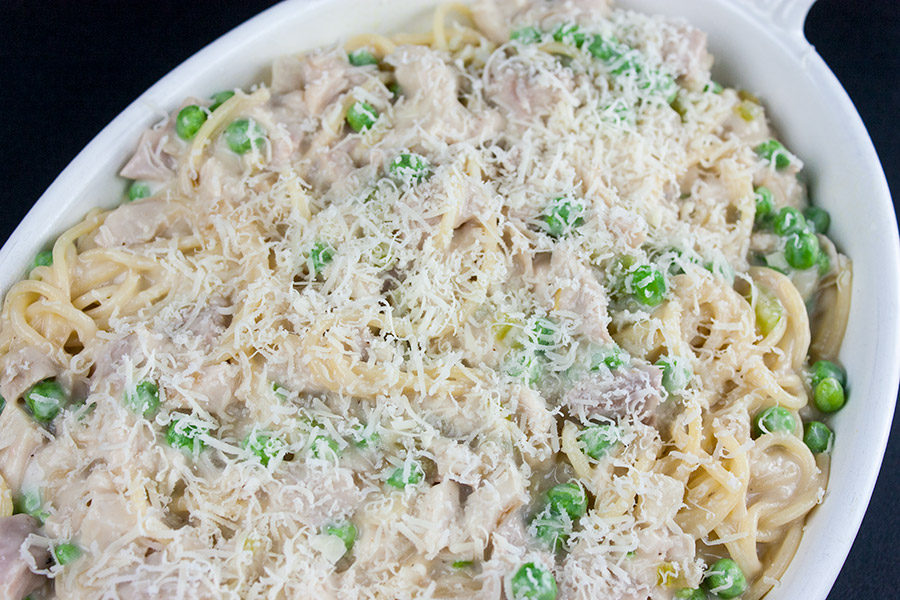 Easy Creamy Turkey Tetrazzini - No canned soup! Use those turkey leftovers from Thanksgiving and Christmas in this easy, delicious, creamy noodle dish.