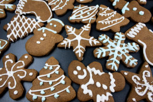 decorated cookies on a slate