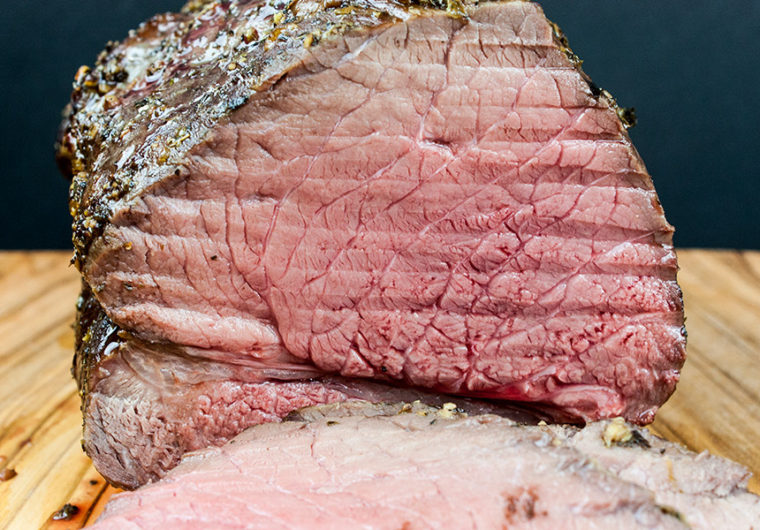 Garlic Herb Beef Top Round Roast - This is the best method of turning an inexpensive piece of meat into a tender, juicy, medium rare delight!