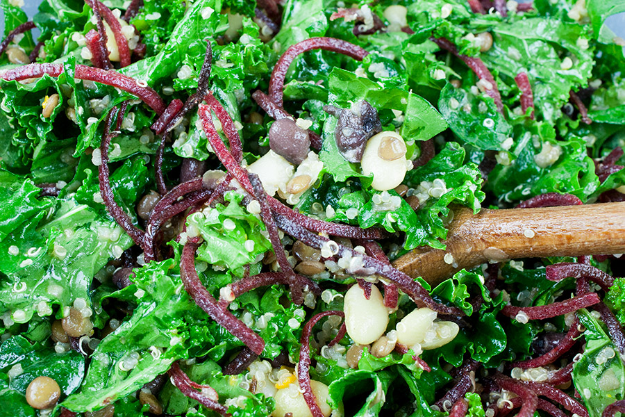 Kale and Bean Salad - An easy nutrient rich kale and bean salad dressed with a tangy citrus dressing. My version of the Long Life salad.