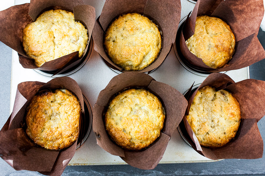 Best Ever Banana Muffins baked in brown liners
