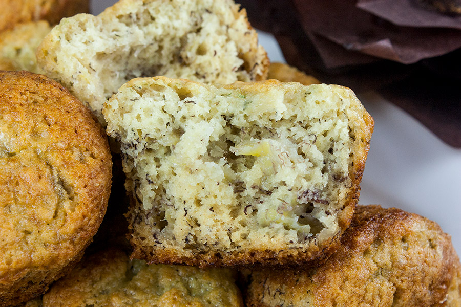 Best Ever Banana Muffins - muffin cut in half showing texture