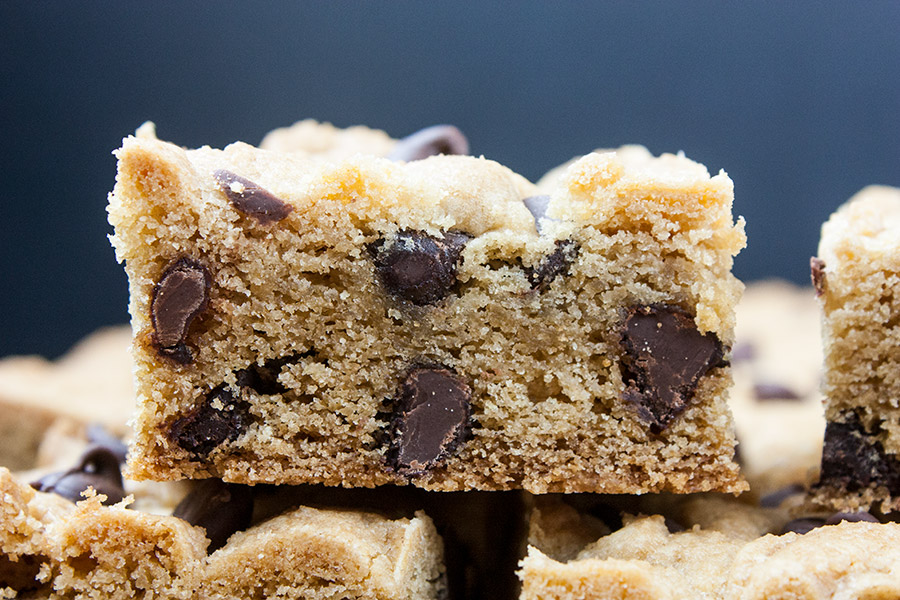 Chocolate Chip Cookie Bars - closeup of one cookie bar