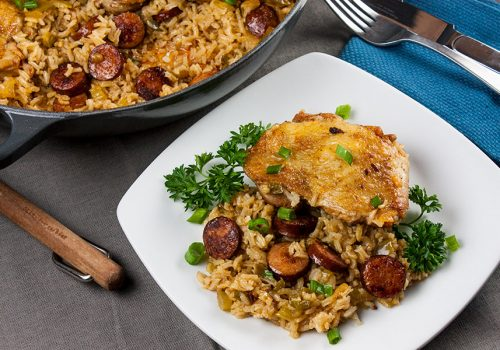 One Pot Chicken and Dirty Rice - Add a little Cajun spice to your dinner tonight!Spicy, creamy, delicious and ready in 30 minutes!