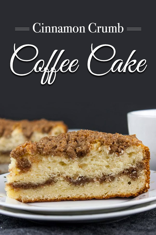 Cinnamon Crumb Coffee Cake - Moist, buttery cake ribboned with a gooey cinnamon middle and topped with a crumbly streusel. Nothing better than a thick slice of this cake with your morning or afternoon coffee. #breakfast #dessert #recipe #easy #holidays
