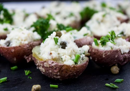 Deviled Potato Bites - Potato salad in bite-size form. Great snack or appetizer for any party or barbecue! Easy to prepare and even better they can be made ahead.
