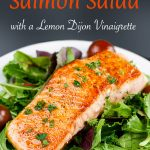 Pan-Seared Salmon Salad with Lemon Vinaigrette - One of the quickest, healthiest meals you can serve your family! Fresh homemade lemon vinaigrette brings tons of tangy, zesty flavor to the salmon and the salad. #dinner #healthy #lowcarb #keto