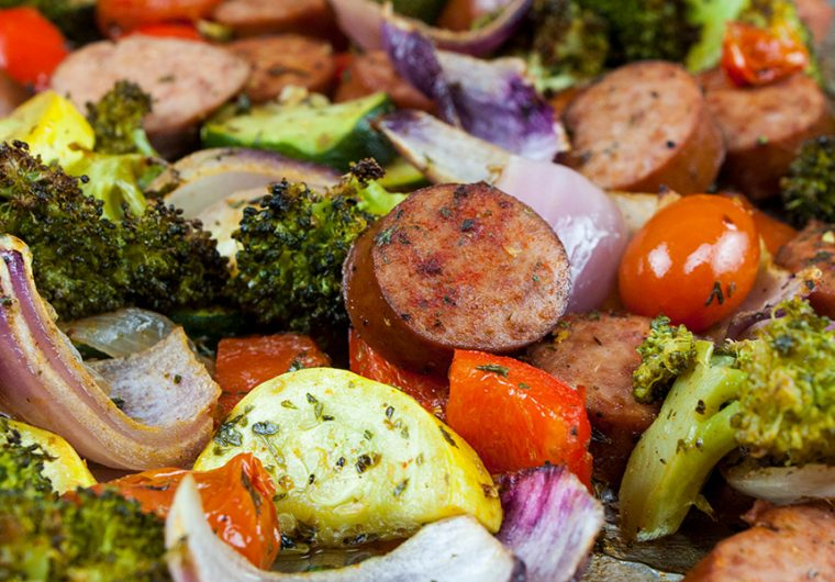 Sheet Pan Sausage and Vegetables - The epitome of healthy one pan meal! Chop, drop, toss with seasonings and bake! It could not get any easier! Also great for meal prep.