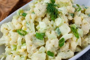 Cauliflower Mock Potato Salad - All the flavors of traditional potato salad but without all the carbs! Perfect for summer barbecues or any meal of the year.