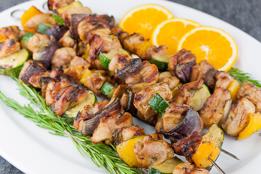 Orange Rosemary Chicken Kebabs - Moist, tender, and deeply flavored chicken and vegetables! Perfect for grilling season.