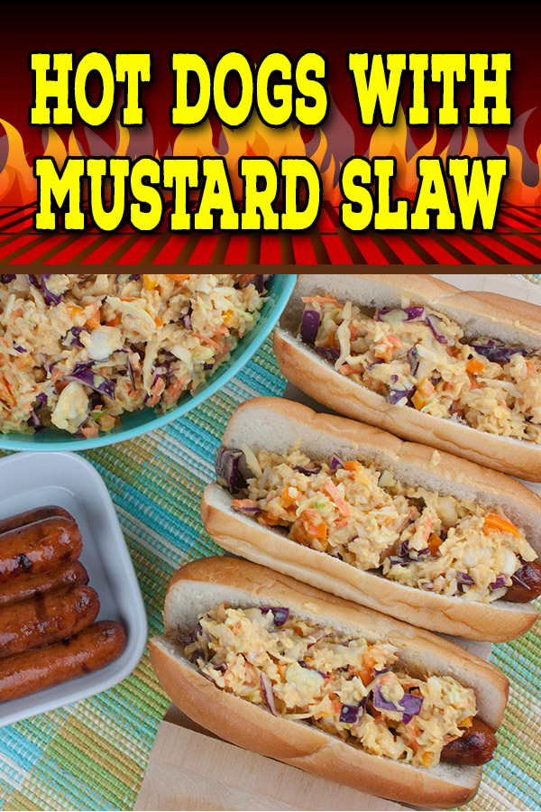Hot Dogs with Mustard Slaw - Great for barbecues but also for a quick weeknight dinner! Our tangy southern mustard coleslaw brings the perfect amount of mustard tang to the average hot dog. #recipe #grilling #summer #bbq