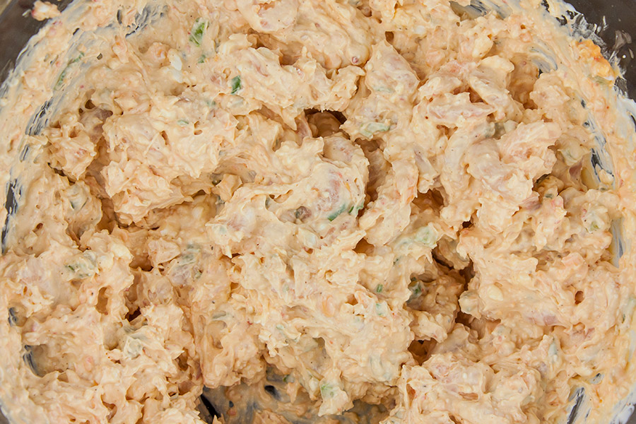 Easy Cold Shrimp Dip - dip ingredients combined together in a mixing bowl