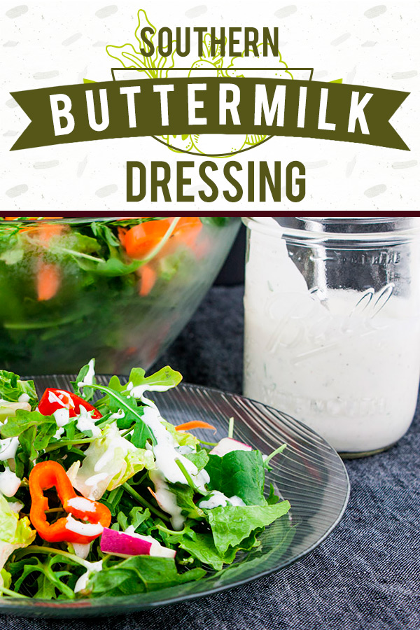 Southern Buttermilk Dressing - So simple to make you will never purchase store-bought again!A creamy, tangy buttermilk dressing flavored with fresh herbs that's great on salads, pasta or a vegetable dip. #lowcarb #keto #recipe #salad