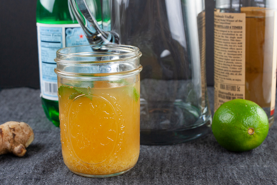 Skinny Moscow Mule - muddled ingredients in a wide mouth jar