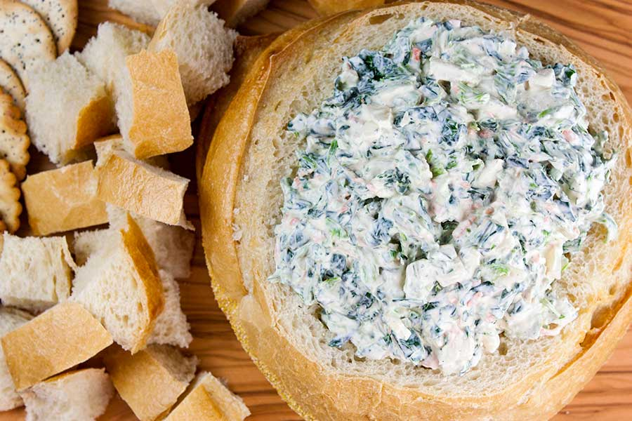 Easy Spinach Dip - A cold, creamy, flavorful spinach dip to wow your friends and family! From scratch, no dry soup mix here.