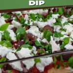 Easy Mediterranean Dip - Layered with hummus, sour cream, tomato, cucumber, roasted red pepper, feta cheese, Kalamata olives, and green onions. Perfect for any party or gathering! #appetizer #recipe #healthy #healthyrecipes
