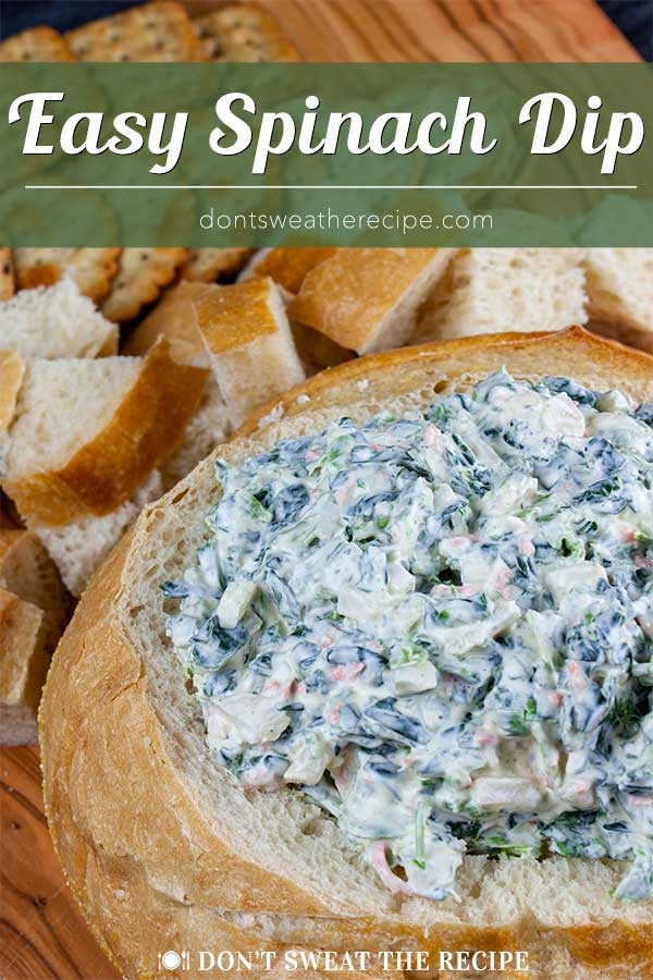 Easy Spinach Dip - A cold, creamy, flavorful spinach dip to wow your friends and family! From scratch, no dry soup mix here. #recipe #party #appetizer #healthy #healthyrecipe